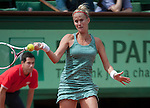 Mathilde Johansson (FRA) loses at Roland Garros in Paris, France on June 1, 2012