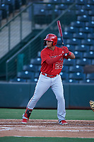 AZL Angels Rainier Rivas (28) at bat during an Arizona League game against the AZL Padres 1 on July 16, 2019 at Tempe Diablo Stadium in Tempe, Arizona. The AZL Padres 1 defeated the AZL Angels 3-1. (Zachary Lucy/Four Seam Images)