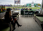 November 2, 2018: A woman looks over the track on Breeders' Cup World Championship Friday at Churchill Downs on November 2, 2018 in Louisville, Kentucky. Scott Serio/Eclipse Sportswire/CSM