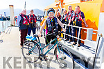 Members of the Fenit RNLI with Mary Hickey at their base in Fenit on Monday, Mary who is cycling around Ireland fundraising for the RNLI.<br /> Back l to r: Des Sugrue, Kevin Deady, Kevin Honeyman, John Bolt, Declan O'Halloran and Mike O'Connor.