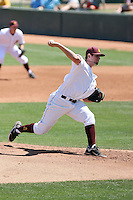 Jake Barrett #99 of the Arizona State Devils pitches seven shutout innings to lead his team to a sweep of the series against the Oregon Ducks on April 3, 2011 at Packard Stadium, Arizona State University, in Tempe, Arizona. .Photo by:  Bill Mitchell/Four Seam Images.