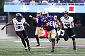 SEATTLE, WA - SEPTEMBER 14: Washington's (26) Salvon Ahmed (RB) breaks up field for a first down during the college football game between the Washington Huskies and the Hawaii Rainbow Warriors on September 14, 2019 at Husky Stadium in Seattle, WA. Jesse Beals / www.Olympicphotogroup.com