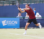 June 13th 2017, Nottingham, England; ATP Aegon Nottingham Open Tennis Tournament day 4;  Backhand volley from Tobias Kamke of Germany in his match against Ricardas Berankis of Lithuania