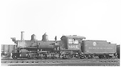 Fireman's-side view of D&amp;RGW #464 in Gunnison.<br /> D&amp;RGW  Gunnison, CO  Taken by Thode, Jackson C. - 6/4/1940