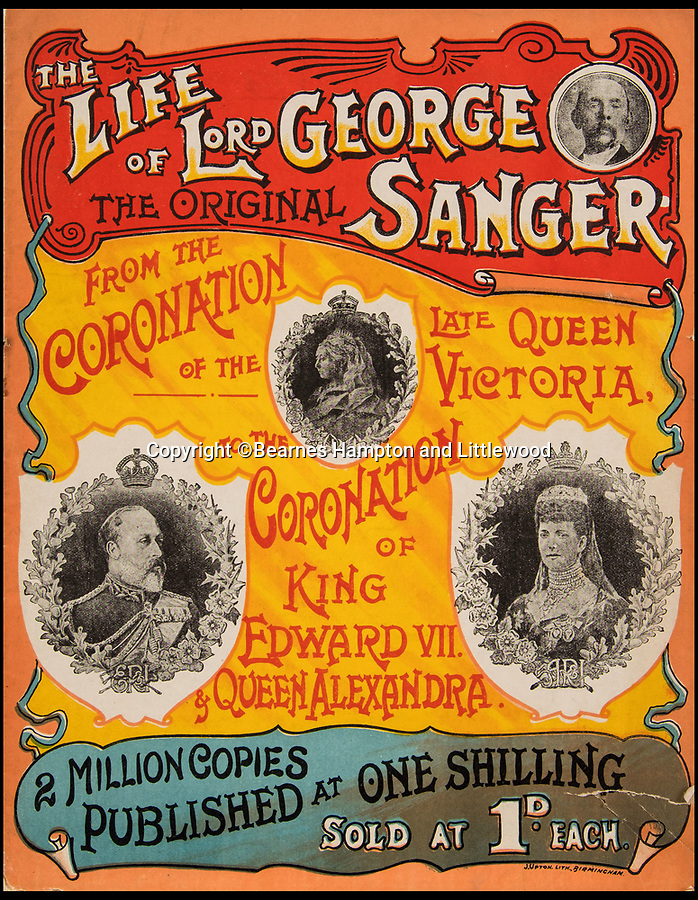 BNPS.co.uk (01202 558833)<br /> Pic: BearnesHampton&Littlewood/BNPS<br /> <br /> Lord George Sangers colourful autobiography.<br /> <br /> A fascinating archive of photographs and documents relating to Britain's 'Greatest Showman' has emerged for sale.<br /> <br /> Lord George Sanger established one of the very first circus shows in Victorian times and was the British equivalent of P.T Barnum, the subject of the hit musical movie The Greatest Showman.<br /> <br /> Now an archive that includes black and white photos of crowds of people gathered outside a huge circus tent in Margate as well one of five elephants lined up outside the same venue is available for sale at auction in Devon.