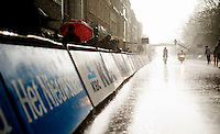Simon Pellaud (SUI/IAM) crosses the finish as the floodgates of heaven open (and while the race itself stayed perfectly dry...)<br /> <br /> 78th Gent - Wevelgem in Flanders Fields (1.UWT)