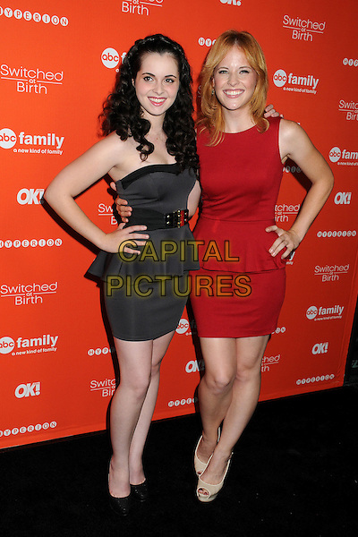 "Vanessa Marano, Katie Leclerc.ABC Family's ""Switched at Birth"" Fall Premiere held at The Redbury Hotel, Hollywood, California, USA..September 13th, 2012.full length black brown strapless peplum dress hands on hips belt red sleeveless .CAP/ADM/BP.©Byron Purvis/AdMedia/Capital Pictures."