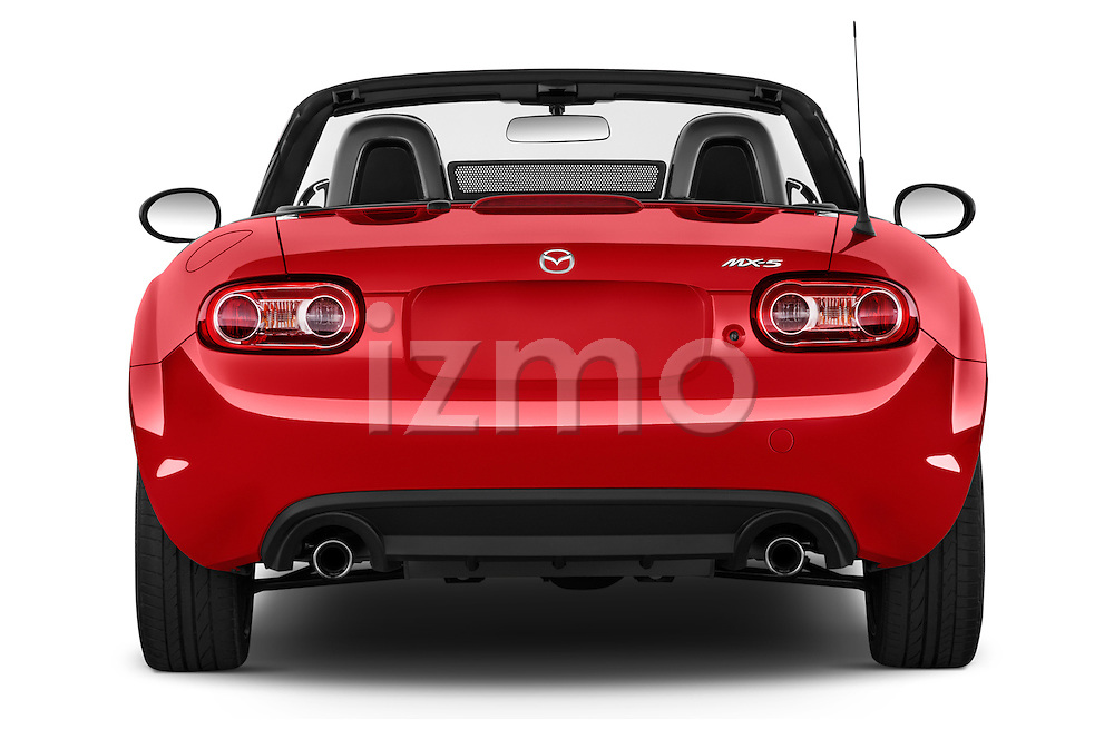 Straight rear view of a 2015 Mazda MX-5 Miata Club Auto 2 Door Convertible Rear View  stock images