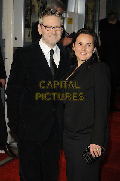 "Kenneth Branagh & Lindsay Brunnock.The ""My Week With Marilyn"" UK premiere, Cineworld Cinemas, Haymarket, London, England..November 20th, 2011.half length black dress suit glasses married husband wife glasses.CAP/CAN.©Can Nguyen/Capital Pictures."