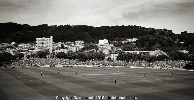 A general view of the Basin Reserve. HRV Cup Twenty20 cricket - Wellington Firebirds v Northern Knights at Allied Nationwide Finance Basin Reserve, Wellington. Sunday, 12 December 2010. Photo: Dave Lintott / lintottphoto.co.nz