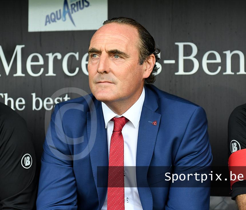 KORTRIJK , BELGIUM - AUGUST 03 : head coach of Kortrijk Yves Vanderhaeghe pictured during the Jupiler Pro League match day 2 between Kv Kortrijk and Sporting Charleroi on August 03 , 2019 in Kortrijk , Belgium . ( Photo by David Catry / Isosport )