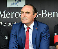 KORTRIJK , BELGIUM - AUGUST 03 : head coach of Kortrijk Yves Vanderhaeghe pictured during the Jupiler Pro League match day 2 between Kv Kortrijk and Sporting Charleroi on August 03 , 2019 in Kortrijk , Belgium . ( Photo by David Catry / Isosport )