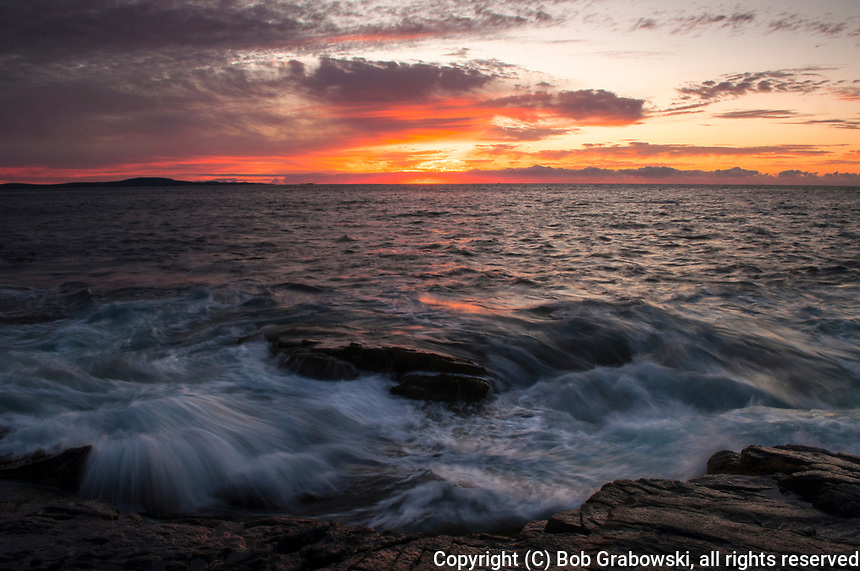 Sunrise along the Maine coast in Acadia National Park
