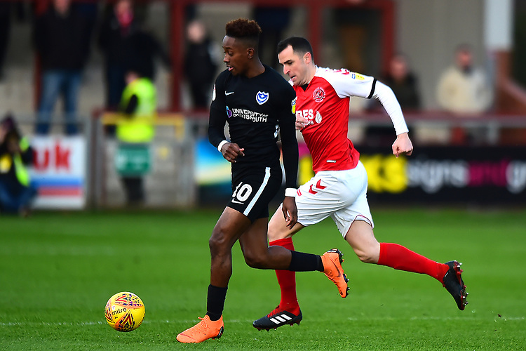 Portsmouth's Adam May competes with Fleetwood Town's Dean Marney<br /> <br /> Photographer Richard Martin-Roberts/CameraSport<br /> <br /> The EFL Sky Bet League One - Fleetwood Town v Portsmouth - Saturday 29th December 2018 - Highbury Stadium - Fleetwood<br /> <br /> World Copyright © 2018 CameraSport. All rights reserved. 43 Linden Ave. Countesthorpe. Leicester. England. LE8 5PG - Tel: +44 (0) 116 277 4147 - admin@camerasport.com - www.camerasport.com