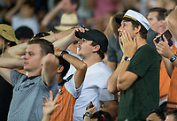 New Zealand fans react as it all goes wrong and Australia take the win during the Black Caps v Australia international T20 cricket match at Eden Park in Auckland, New Zealand. 16 February 2018. Copyright Image: Peter Meecham / www.photosport.nz
