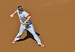 10 October 2012: St. Louis Cardinals third baseman David Freese in action during Postseason Playoff Game 3 of the National League Divisional Series against the Washington Nationals at Nationals Park in Washington, DC. The Cardinals shut out the Nationals 8-0 in the third game of their best of five series, giving St. Louis a 2-1 lead in the playoff. Mandatory Credit: Ed Wolfstein Photo