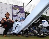 Queens Club, GREAT BRITAIN,   Dame Tanni GREY-THOMPSON, tries her hand at Ergoing,  before the  press Conference to announce the joint initiative between British Paralympic Association and Deloitte  of 'www.Parasport.org.uk' online information service, on Thur's.  03.05.2007. London. [Credit: Peter Spurrier/Intersport Images]