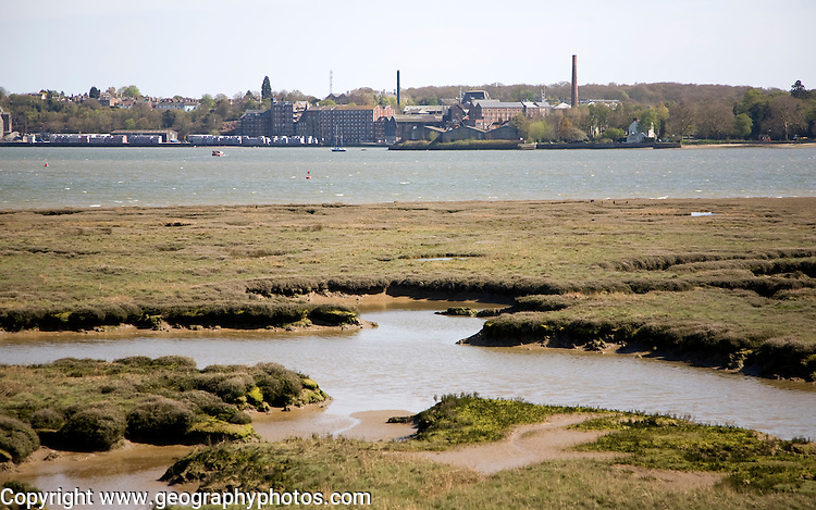 View across saltmarsh to River Stour and Manningtree, Essex, England
