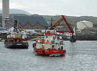 Dredging the harbour, Peel, Isle of Man.
