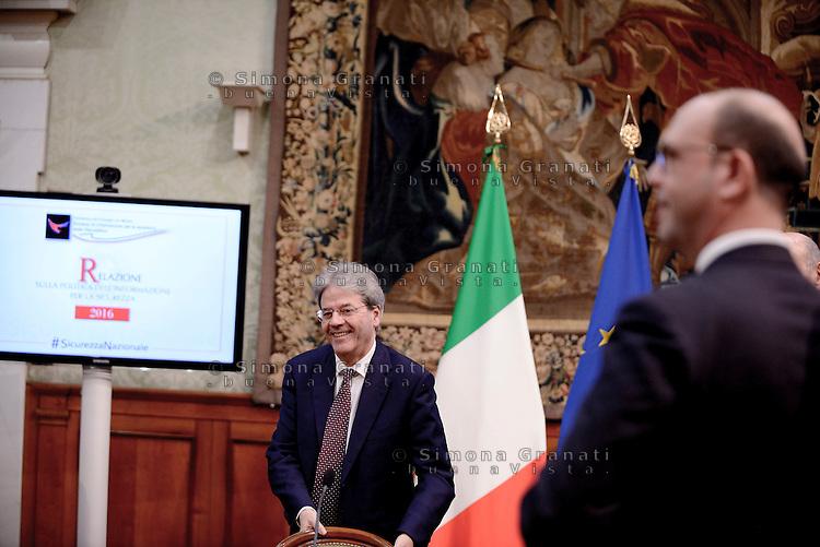 Roma, 27 Febbraio 2017.<br /> Paolo Gentiloni e Angelino Alfano.<br /> Presentazione della Relazione annuale sulla politica dell'informazione per la sicurezza.