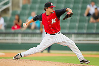Kannapolis Intimidators relief pitcher Dustin Umberger (24) in action against the Rome Braves at CMC-Northeast Stadium on August 5, 2012 in Kannapolis, North Carolina.  The Intimidators defeated the Braves 9-1.  (Brian Westerholt/Four Seam Images)