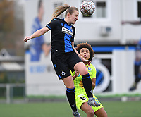 20191123 – BRUGGE, BELGIUM : Brugge's Elle Decorte pictured in a duel with Gent's Kassandra Missipo during a women soccer game between Dames Club Brugge and K AA Gent Ladies on the ninth matchday of the Belgian Superleague season 2019-2020 , the Belgian women's football  top division , saturday 23 th November 2019 at the Jan Breydelstadium – terrain 4  in Brugge  , Belgium  .  PHOTO SPORTPIX.BE | DAVID CATRY