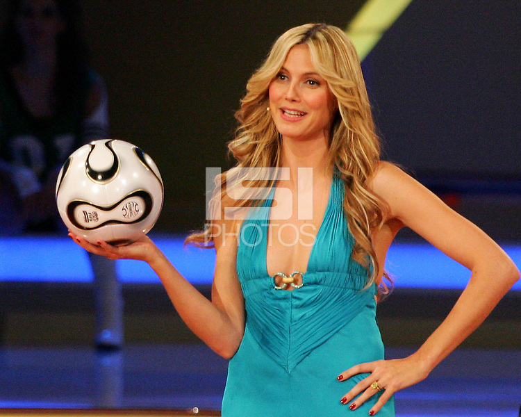 Heidi Klum shows off the new Adidas ball to be used at the 206 World Cup. The final draw for the 2006 FIFA World Cup took place in the Congress Centre in Leipzig, Germany on December 9 2005.