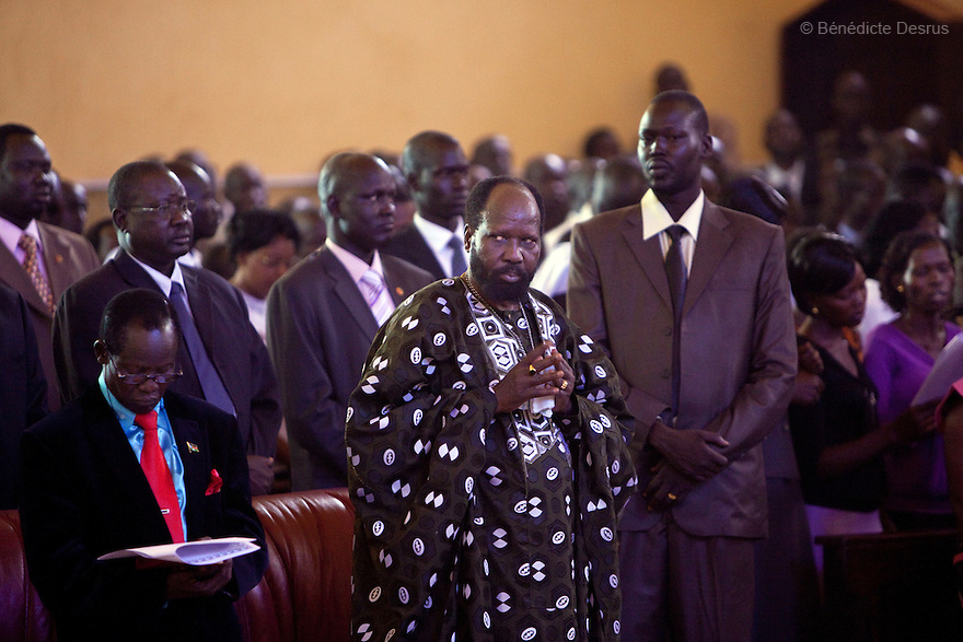 "25 december 2010 - Juba, South Sudan - South Sudan's President Salva Kiir Mayardit attends the Christmas mass at Kator Cathedral in Juba. He wished the people of South Sudan ""Merry Christmas and Happy New Year"" and said that he did not expect to reach an agreement with the North on post-referendum issues. A referendum for southern independence will be held on January 9 and probably lead to the partition of this nation, the largest on the African continent. Photo credit: Benedicte Desrus"