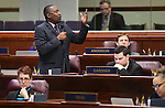 Nevada Assemblyman Tyrone Thompson, D-North Las Vegas, urgues lawmakers to support a workforce development bill at the Legislative Building in Carson City, Nev., on Friday, Dec. 18, 2015. Gov. Brian Sandoval convened a special Legislative session to vet an economic development deal between the state and Faraday Future. The Assembly approved the measure 37-4, sending it to the Senate. Cathleen Allison/Las Vegas Review-Journal