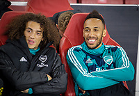 Matteo Guendouzi & Pierre-Emerick Aubameyang of Arsenal during the UEFA Europa League match between Arsenal and Standard Liege at the Emirates Stadium, London, England on 3 October 2019. Photo by Andrew Aleks.