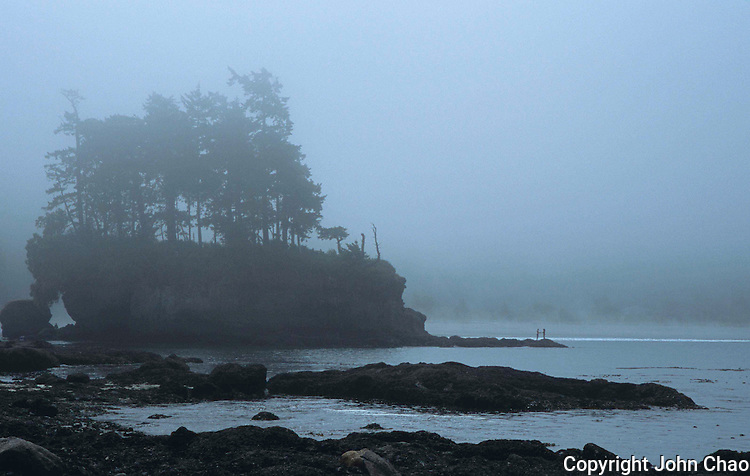 Couple standing together in fog on rocky promontory at Tongue Point, Salt Creek State Park, Olympic Peninsula, Washington State.