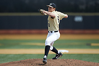 Wake Forest Demon Deacons starting pitcher Colin Peluse (8) in action against the Louisville Cardinals at David F. Couch Ballpark on March 18, 2018 in  Winston-Salem, North Carolina.  The Demon Deacons defeated the Cardinals 6-3.  (Brian Westerholt/Four Seam Images)
