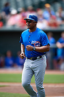 Iowa Cubs hitting coach Mariano Duncan (25) during a game against the Memphis Redbirds on May 29, 2017 at AutoZone Park in Memphis, Tennessee.  Memphis defeated Iowa 6-5.  (Mike Janes/Four Seam Images)