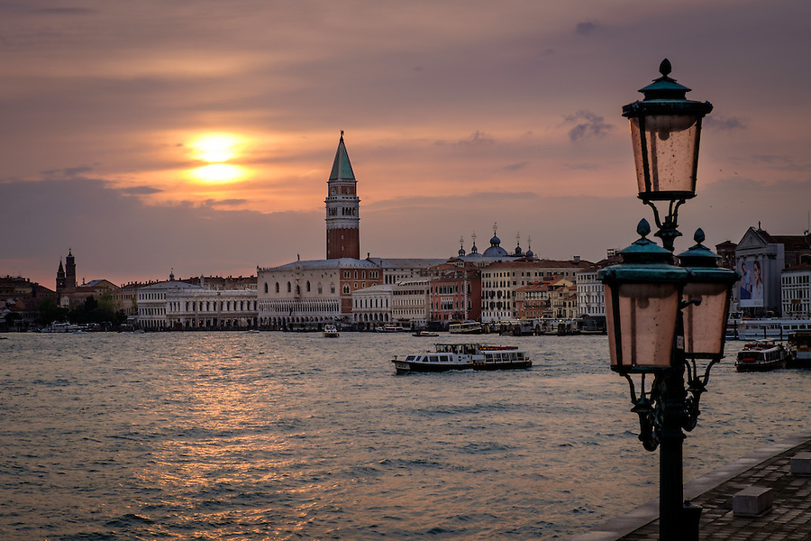 VENICE, ITALY - CIRCA MAY 2015: Sunset in Venice with view of the Gran Canal, Doge's Palace and tower of Piazza San Marco