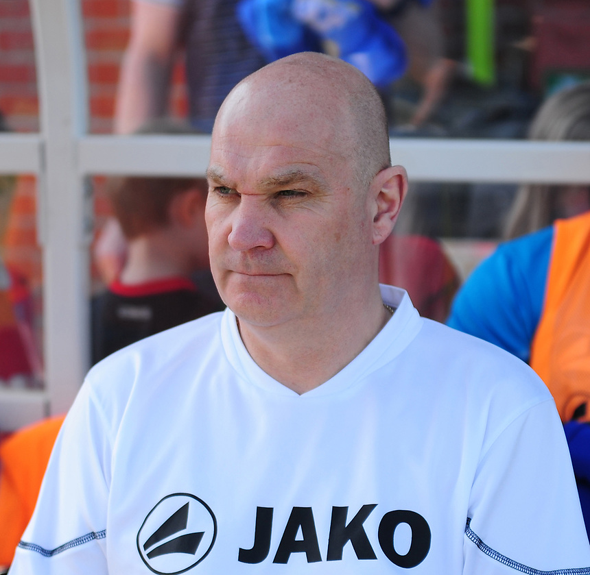 Eastleigh manager Richard Hill during the pre-match warm-up <br /> <br /> Photographer Andrew Vaughan/CameraSport<br /> <br /> Vanarama National League - Eastleigh v Lincoln City - Saturday 8th April 2017 - Silverlake Stadium - Eastleigh<br /> <br /> World Copyright &copy; 2017 CameraSport. All rights reserved. 43 Linden Ave. Countesthorpe. Leicester. England. LE8 5PG - Tel: +44 (0) 116 277 4147 - admin@camerasport.com - www.camerasport.com