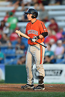 Aberdeen IronBirds designated hitter Brandon Coluccio (16) at bat during a game against the Williamsport Crosscutters on August 4, 2014 at Bowman Field in Williamsport, Pennsylvania.  Aberdeen defeated Williamsport 6-3.  (Mike Janes/Four Seam Images)