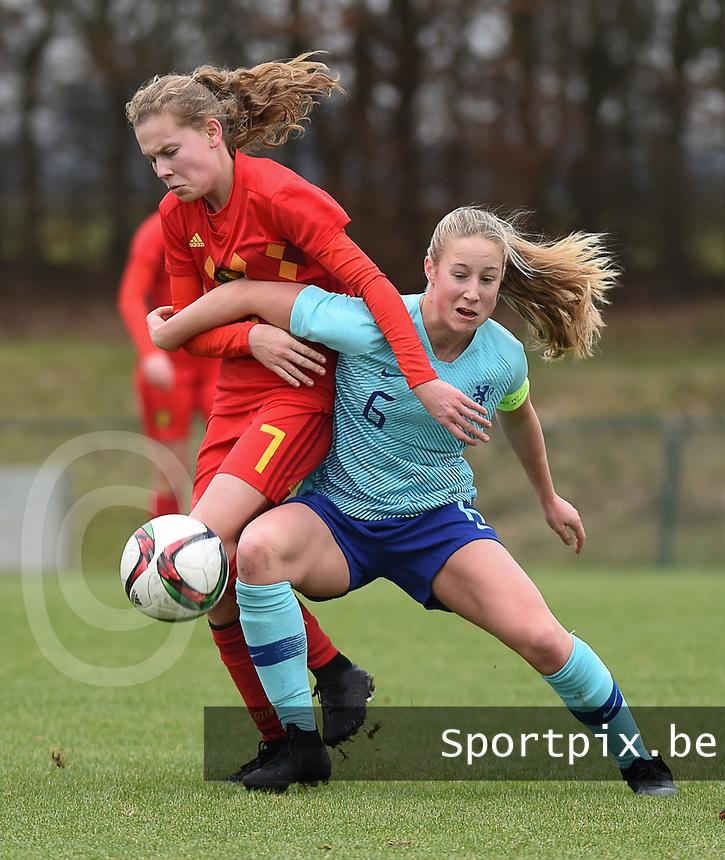 20190206 - TUBIZE , BELGIUM : Belgian Jarne Teulings (L) and Dutch Dana Foederer (R) pictured during the friendly female soccer match between Women under 17 teams of  Belgium and The Netherlands , in Tubize , Belgium . Wednesday 6th February 2019 . PHOTO SPORTPIX.BE DIRK VUYLSTEKE