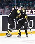 Stockholm 2014-09-27 Ishockey Hockeyallsvenskan AIK - Mora IK :  <br /> AIK:s Christian Sandberg har gjort 1-0 och jublar med lagkamrat<br /> (Foto: Kenta J&ouml;nsson) Nyckelord:  AIK Gnaget Hockeyallsvenskan Allsvenskan Hovet Johanneshovs Isstadion Mora MIK jubel gl&auml;dje lycka glad happy