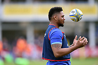 Levi Douglas of Bath Rugby looks on during the pre-match warm-up. Aviva Premiership match, between Bath Rugby and Worcester Warriors on October 7, 2017 at the Recreation Ground in Bath, England. Photo by: Patrick Khachfe / Onside Images