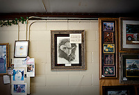 "A President George W. Bush pencil drawing in The Red Bull gift shop and Bush memorabilia store in Crawford, Texas, US, Wednesday, April 14, 2010. The quote on the picture reads ""you know where I stand.""..PHOTO/ MATT NAGER"