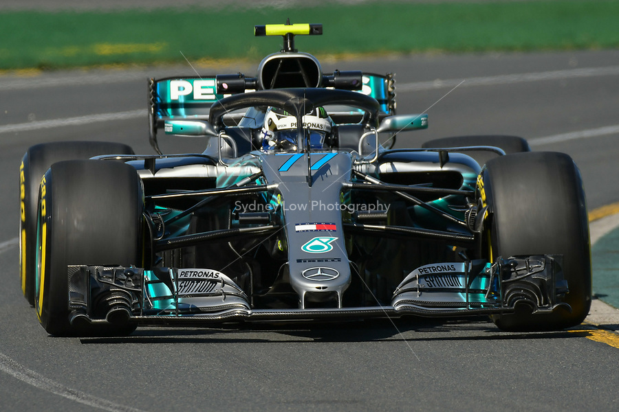 March 23, 2018: Valtteri Bottas (FIN) #77 from the Mercedes AMG Petronas Motorsport team during practice session one at the 2018 Australian Formula One Grand Prix at Albert Park, Melbourne, Australia. Photo Sydney Low