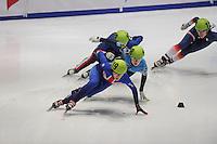 SHORTTRACK: DORDRECHT: Sportboulevard Dordrecht, 24-01-2015, ISU EK Shorttrack, Sofia PROSVIRNOVA (RUS | #148), Elise CHRISTIE (GBR | #119), ©foto Martin de Jong
