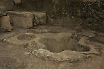 Israel, Shephelah, cruciform baptismal font in the second byzantine basilica at Emmaus-Nicopolis