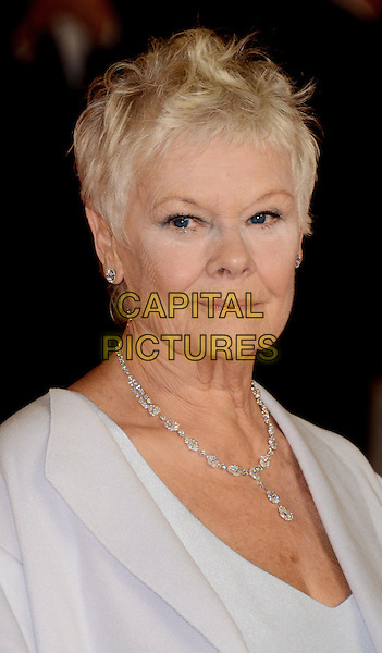 Judi Dench.Royal World Premiere of 'Skyfall' held at the Royal Albert Hall, London, England..October 23rd, 2012.headshot portrait blue grey gray diamond necklace .CAP/WIZ.© Wizard/Capital Pictures.