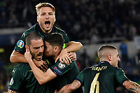 Jorginho of Italy celebrates with Ciro Immobile , Marco Verratti and Leonardo Bonucci after scoring on penalty the goal 0f 1-0 for his side <br /> Roma 12-10-2019 Stadio Olimpico <br /> European Qualifiers Qualifying round Group J <br /> Italy - Greece <br /> Photo Andrea Staccioli/Insidefoto