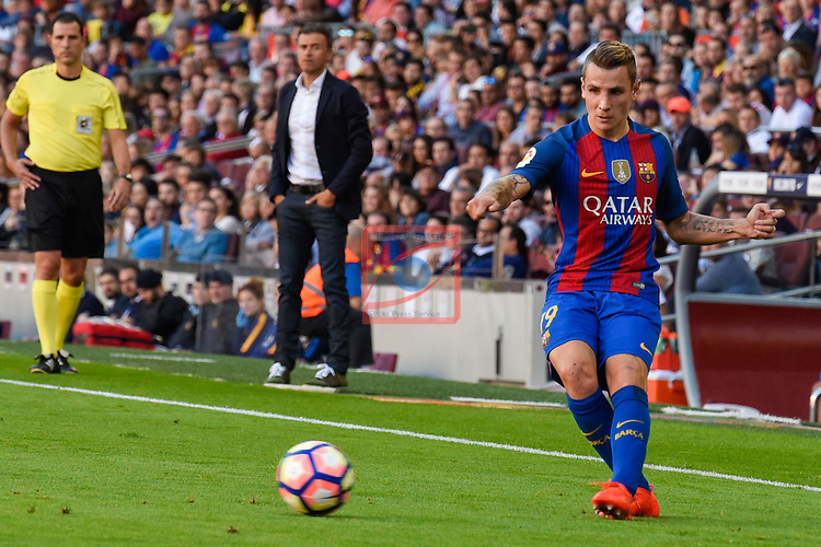 League Santander 2016/2017. Game: 8.<br /> FC Barcelona vs Deportivo: 4-0.<br /> Lucas Digne.