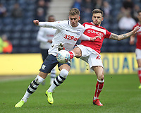 Preston North End's Brad Potts in action with Bristol City's Jamie Paterson<br /> <br /> Photographer Mick Walker/CameraSport<br /> <br /> The EFL Sky Bet Championship - Preston North End v Bristol City - Saturday 2nd March 2019 - Deepdale Stadium - Preston<br /> <br /> World Copyright © 2019 CameraSport. All rights reserved. 43 Linden Ave. Countesthorpe. Leicester. England. LE8 5PG - Tel: +44 (0) 116 277 4147 - admin@camerasport.com - www.camerasport.com