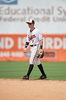 Bowie Baysox second baseman Chris Clare (9) during an Eastern League game against the Akron RubberDucks on May 30, 2019 at Prince George's Stadium in Bowie, Maryland.  Akron defeated Bowie 9-5.  (Mike Janes/Four Seam Images)