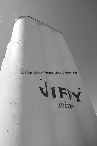 Jiffy Mix grain towers in Chelsea, Michigan shot in black and white.