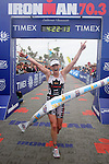 OCEANSIDE, CA - MARCH 31:  Triathlete Melanie McQuaid wins the California Ironman 70.3 on March 31, 2012 in Oceanside, California. (Photo by Donald Miralle).